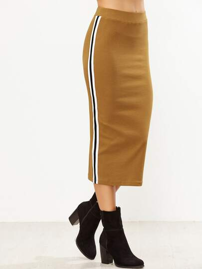 Mustard Side Striped Fit Tea Length Skirt