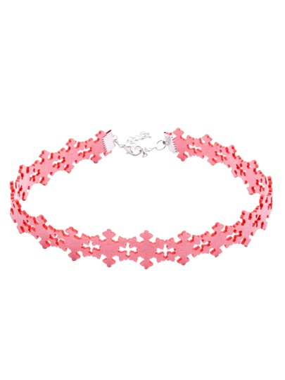 Pink Snowflake Hollow Out Choker Necklace For Christmas