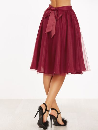 Burgundy Bow Back Mesh Overlay Skirt
