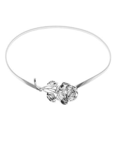 Silver Metal Rose Elastic Stretch Skinny Belt