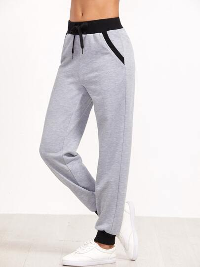 Heather Grey Contrast Trim Sweatpants