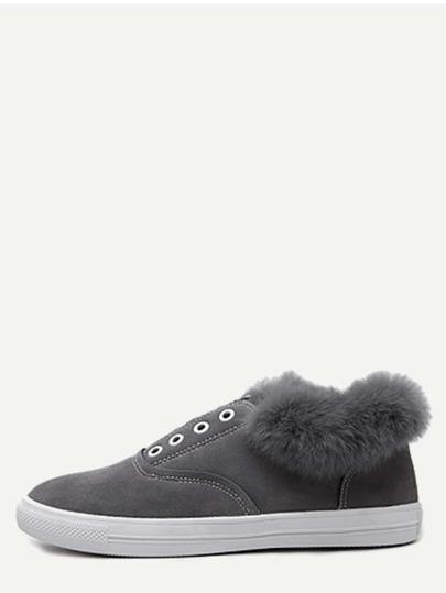 Chaussures à semelle caoutchouc en suédine et fourrure - gris