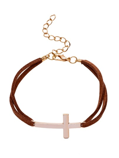 Coffee Double Layer Cross Charm Bracelet