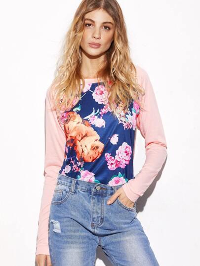 Contrast Raglan Sleeve Floral Print Sweatshirt