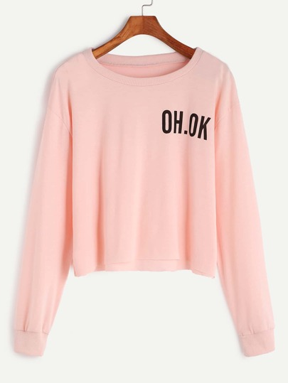 Pink Drop Shoulder Letter Print Raw Hem Crop Sweatshirt