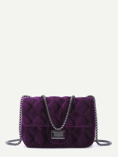 Royal Purple Velvet Quilted Chain Bag