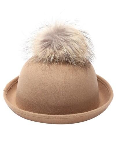 Khaki Pom Pom Felt Bowler Hat