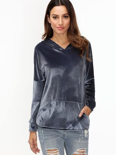 Navy Hooded Drop Shoulder Pocket Velvet Sweatshirt