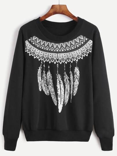 Black Tribal Print Sweatshirt