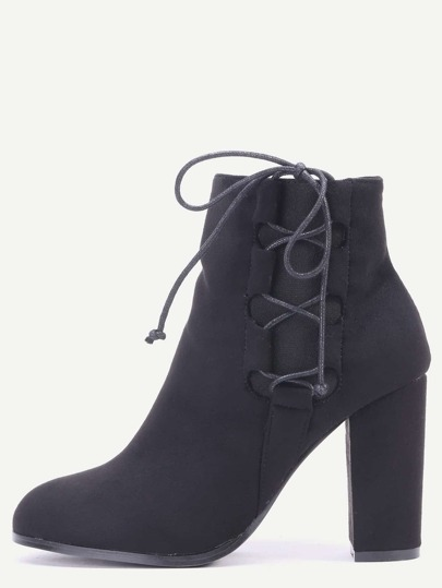 Black Faux Suede Lace Up Side Short Boots