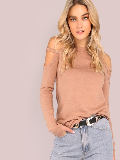 Double Strap Cold Shoulder Curved Hem Top DUSTY PINK