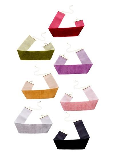7PCS Multicolor Velvet Wide Choker Necklace Set