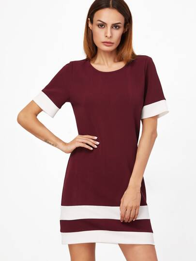 Burgundy White Patchwork Short Sleeve Shift Dress