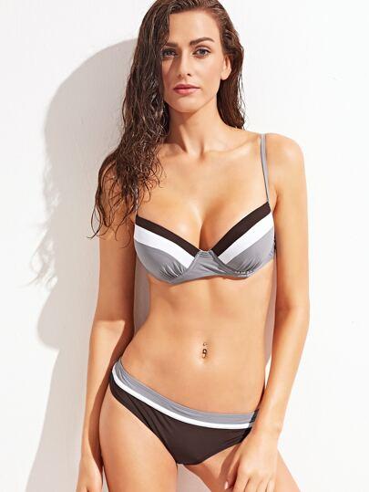 Contrast Striped Tie Back Triangle Bikini Set