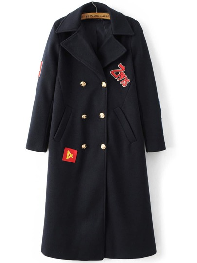Black Patch Embroidery Double Breasted Coat