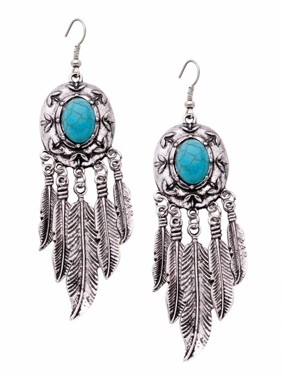 Antique Silver Turquoise Metal Feather Fringe Drop Earrings