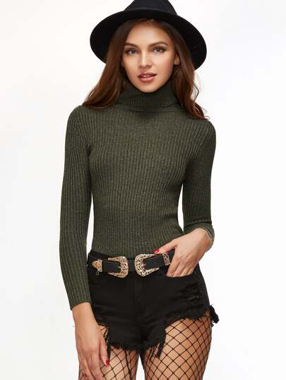 Olive Green Ribbed Knit Turtleneck Slim Fit Sweater