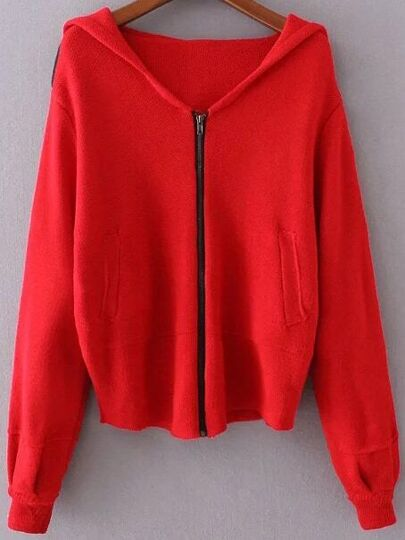 Red Zipper Up Hooded Sweater Coat