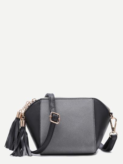 Grey Patchwork Leather Tassel Shoulder Bag