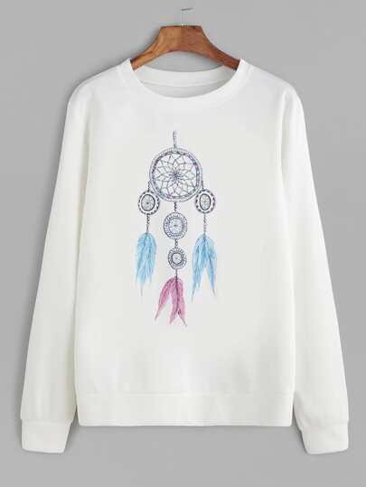 White Dreamcatcher Print Sweatshirt