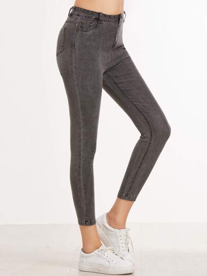 Grey Skinny Stretch Pocket Jeans