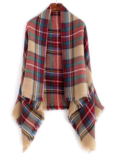Многоцветный клетчатый шарф шалью с бахромой