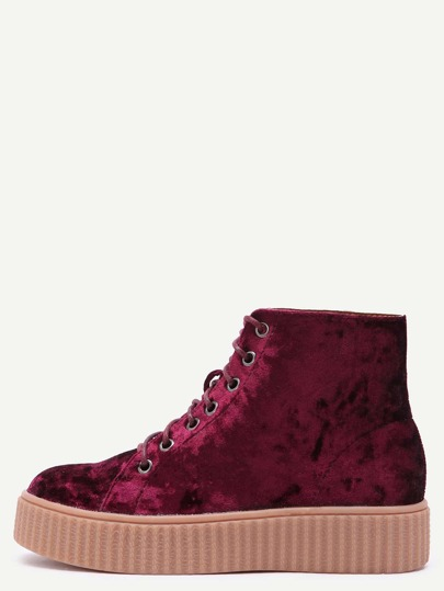 Burgundy Velvet Lace Up Rubber Sole Booties