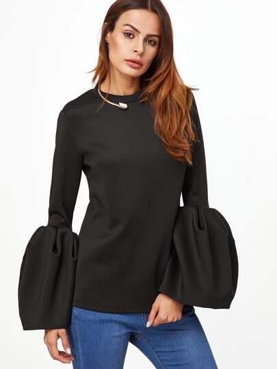 Black Bell Sleeve Keyhole Back Blouse