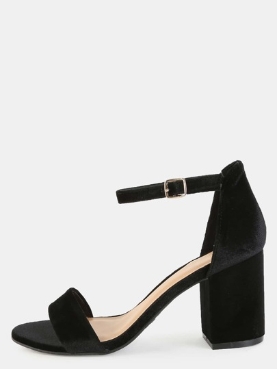 Open Toe Smooth Velvet Heels BLACK
