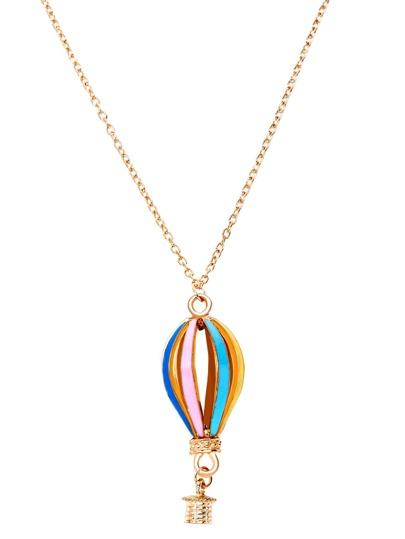 Multicolor Hot Air Balloon Hollow Out Pendant Necklace