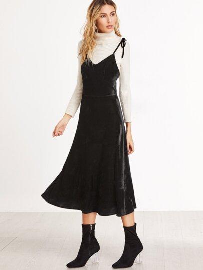 Black Tie Shoulder A Line Velvet Cami Dress