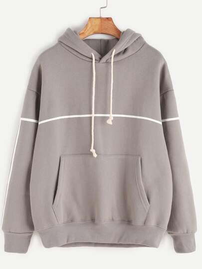 Grey Hooded Drop Shoulder Pocket Sweatshirt