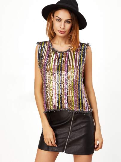 Multicolor Sequin Embroidered Split Back Frayed Denim Tank Top