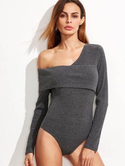 Grey Ribbed Knit Asymmetric Fold Off The Shoulder Bodysuit