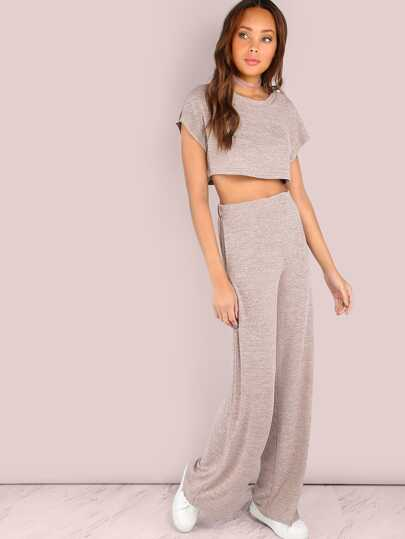 Heathered Sporty Crop & Wide Leg Pants Set BLUSH