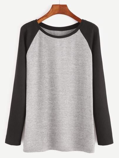 Heather Grey Contrast Raglan Sleeve Ribbed Knit T-shirt