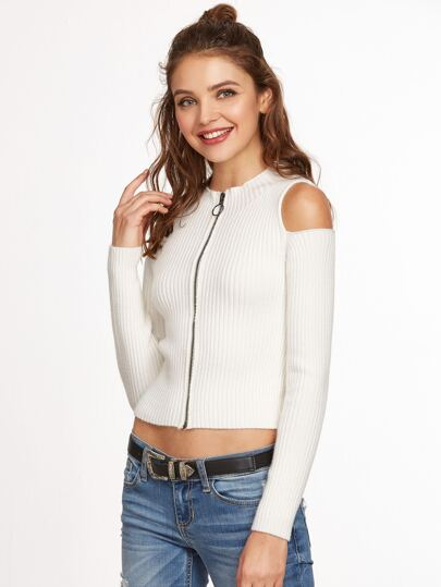 Pull à nervures tricoté à l'épaule ouvert zippé -blanc