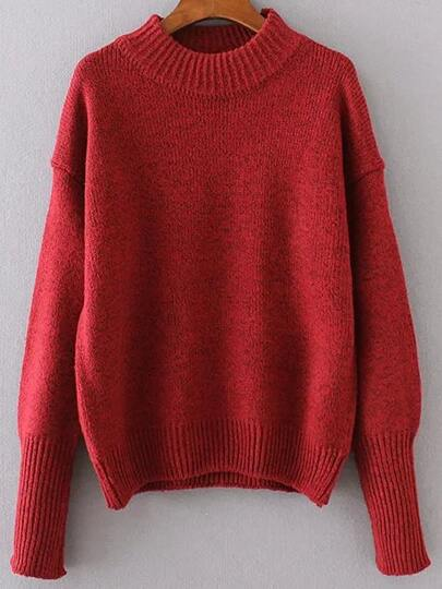 Red Crew Neck Drop Shoulder Seam Sweater