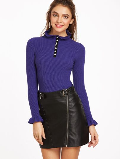 Royal Blue Buttoned Ruffle Collar And Cuff Sweater