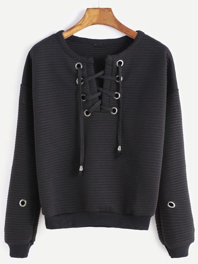 Black Lace Up Metal Eyelet Trim Ribbed Sweatshirt