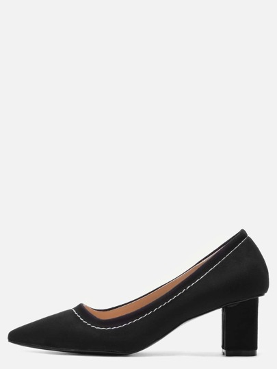 Black Point Toe Suede Heeled Pumps