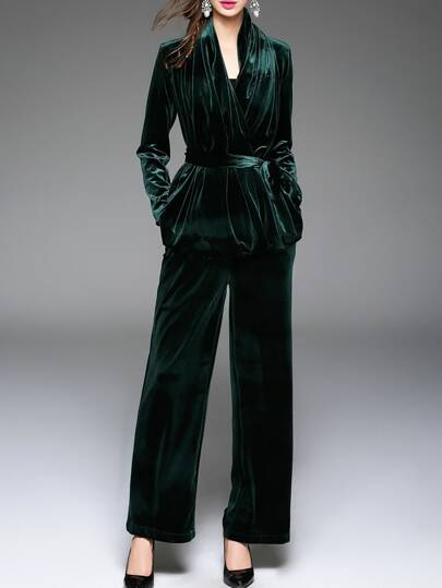 Dark Green Tie-Waist Velvet Top With Pants
