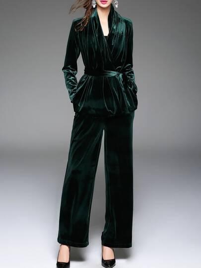 Top de terciopelo con lazo en la cintura y pantalones - verde oscuro