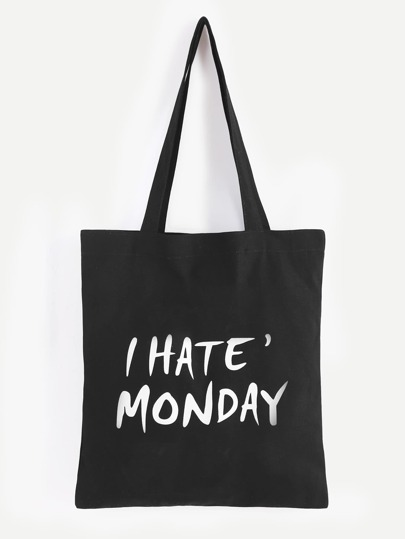 I Hate Monday Slogan Print Black Canvas Tote Bag