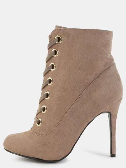 Faux Suede Almond Toe Eyelet Boots TAUPE