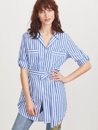 Blue Vertical Striped Pocket Front Belted Blouse