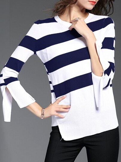 Navy White Striped Split Sleeve Sweater