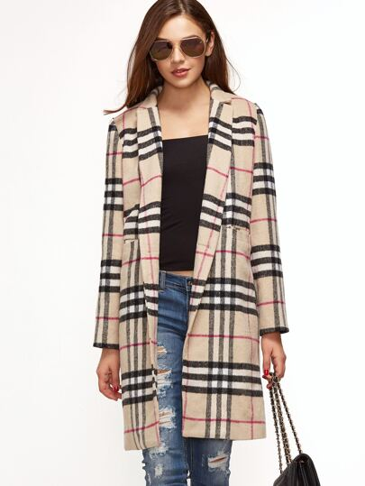 Khaki Plaid Single Button Pocket Front Overcoat