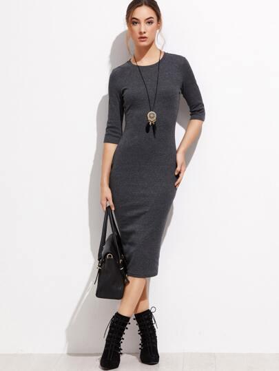 Heather Grey Elbow Sleeve Dress