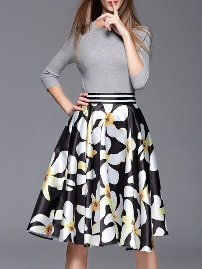 Grey Knit Sweater Top With Print Skirt